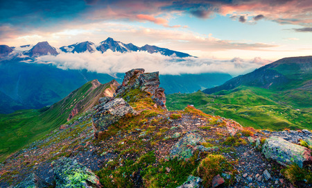 Summer morning view of Grossglockner mountain range from Grossglockner High Alpine Road. Colorful sunrise in Austrian Alps, Zell am See district, state of Salzburg in Austria