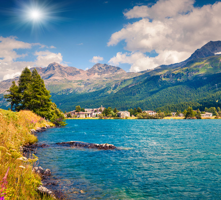 Summer sunny view of Sils im Engadin village. Colorful outdoor scene on Sils lake, Maloja pass, Upper Engadine in canton of the Grisons, Switzerland