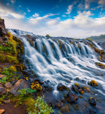Summer morning view of unique waterfall - Bruarfoss. Colorful outdoor scene in South Iceland Stock Photo