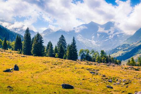 Summer morning view of Grossglockner mountain range from Grossglockner High Alpine Road. Piquresque outdoor scene in Austrian Alps, Zell am See district, state of Salzburg in Austria Stock Photo