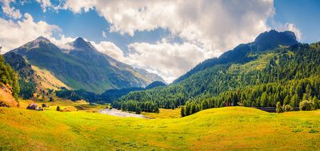 Panorama de verão ensolarado do topo do passe de Maloja. Cena colorida da manhã nos Alpes suíços, Alta Engadina no cantão dos Grisões, Suíça Foto de archivo - 87183575