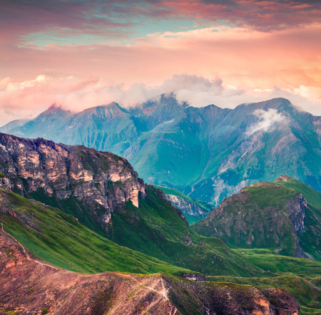 Summer morning view of Grossglockner mountain range from Grossglockner High Alpine Road. Colorful sunset in Austrian Alps, Zell am See district, state of Salzburg in Austria
