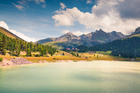 Beautiful summer morning on the Speicher lake. Colorful outdoor scene in western Austrian Alps, in the district of Innsbruck-Land in the state of Tyrol, Austria