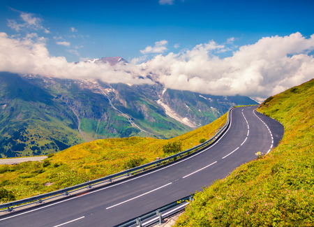 Summer morning view of Grossglockner mountain range from Grossglockner High Alpine Road. Colorful outdoor scene in Austrian Alps, Zell am See district, state of Salzburg in Austria