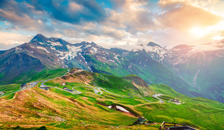 View from a birds eye of Grossglockner High Alpine Road. Colorful summer sunset in Austrian Alps, Zell am See district, state of Salzburg, Austria