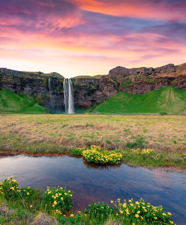 Incredible morning view of Seljalandfoss Waterfall on Seljalandsa river. Colorful summer sunrise in Iceland,  Europe. Artistic style post processed photo. Stok Fotoğraf