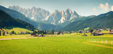 Colorful outdoor scene in the Austrian Alps. Summer sunny day in the Gosau village on the Grosse Bischofsmutze mountain range, Austria, Europe. Soft green filter toned