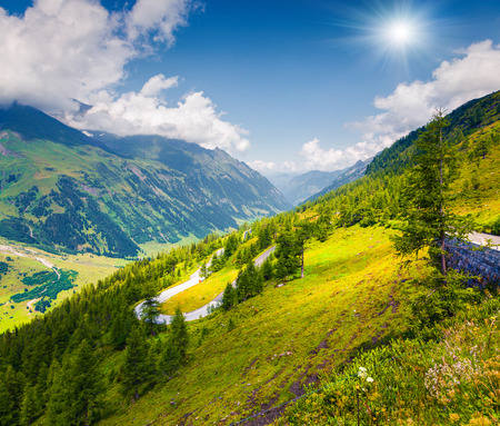 Summer morning view of Grossglockner mountain range from Grossglockner High Alpine Road. Piquresque outdoor scene in Austrian Alps, Zell am See district, state of Salzburg in Austria, Europe. Artistic style post processed photo.