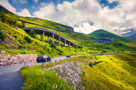 Summer morning view of Grossglockner High Alpine Road. Colorful outdoor scene in Austrian Alps, Zell am See district, state of Salzburg in Austria, Europe. Travel background concept. Stock Photo