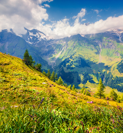 Summer morning view of Grossglockner mountain range from Grossglockner High Alpine Road. Piquresque outdoor scene in Austrian Alps, Zell am See district, state of Salzburg in Austria, Europe. Artistic style post processed photo. Stock Photo - 88795119