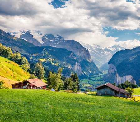 Colorful summer view of Wengen village. Dramatic outdoor scene in Swiss Alps, Bernese Oberland in the canton of Bern, Switzerland, Europe. Artistic style post processed photo. Stock Photo - 89421601