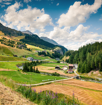 Colorful rural landscape in the Swiss Alps. Beautiful summer view of Switzerland, Europe. Beauty of nature concept background. Artistic style post processed photo.