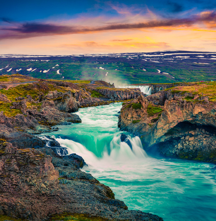 Picturesque summer morning scene on the Godafoss Waterfall. Colorful sunrise on the on Skjalfandafljot river, Iceland, Europe. Artistic style post processed photo. Reklamní fotografie - 91345432