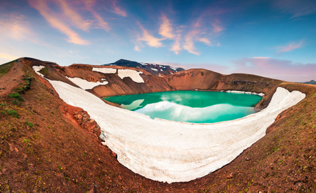 Colorful summer scene with crater pool of Krafla volcano. Exotic sunset in the Northeast Iceland, Myvatn lake located, Europe. Artistic style post processed photo.