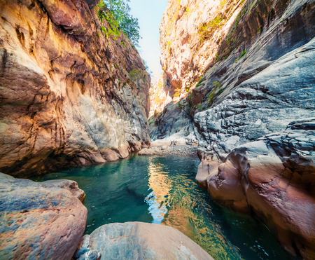 Colorful spring scene inside Goynuk canyon, located in District of Kemer, Antalya Province. Beautiful morning scene in Turkey, Asia. Beauty of nature concept background.