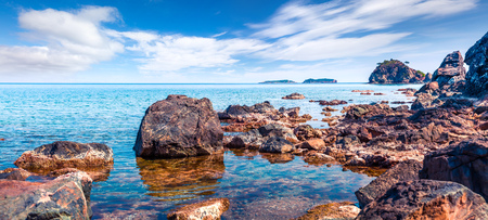 Picturesque Mediterranean seascape in Turkey. Panorama of a small azure bay near the Tekirova village, District of Kemer, Antalya Province. Beauty of nature concept background. Stok Fotoğraf - 93251351