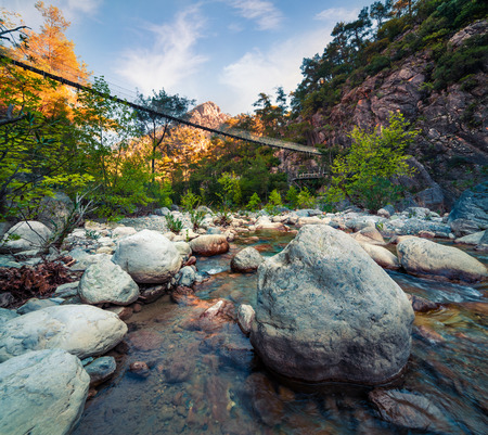 Picturesque spring scene in Goynuk canyon, located in District of Kemer, Antalya Province. Splendidmorning scen in Turky, Asia. Beauty of nature concept background. Stok Fotoğraf - 93251916