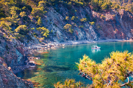 Amazing Mediterranean seascape in Turkey. Bright spring view of a small azure bay near the Tekirova village, District of Kemer, Antalya Province. Beauty of nature concept background. Stok Fotoğraf - 93251947