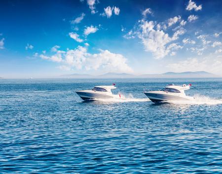 Entertaining cruise on a motor boat in the Bosporus Strait. Beautiful seascape on the Sea of Marmara, Istanbul, Turkey, Europe. Active tourism concept background.