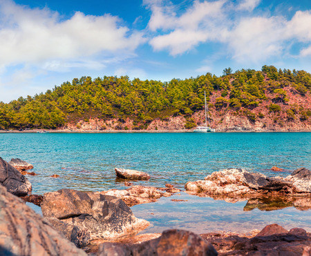 Picturesque Mediterranean seascape in Turkey. Bright spring view of a small azure bay near the Tekirova village, District of Kemer, Antalya Province. Beauty of nature concept background. Stok Fotoğraf - 93252429