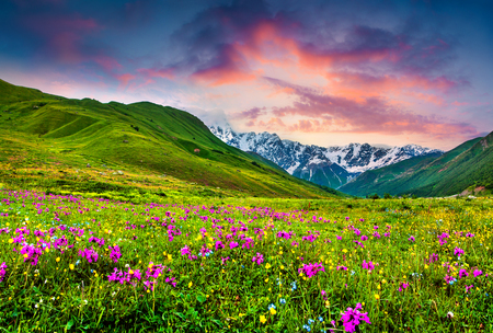 Fabulous summer sunrise in the Caucasus mountains. Colorful morning view of main Caucasus ridge, Ushguli village location, Upper Svaneti, Georgia. Beauty of nature concept background.
