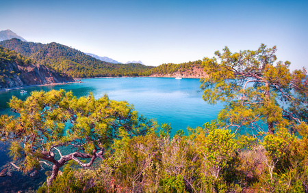 Amazing Mediterranean seascape in Turkey. Bright spring view of a small azure bay near the Tekirova village, District of Kemer, Antalya Province. Beauty of nature concept background. Stok Fotoğraf - 93252445