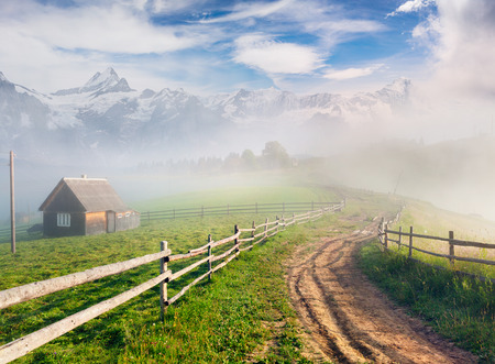 Geweldige zomerscène in het bergdorp. Mistige ochtendmening van platteland met oude weg. Schoonheid van de achtergrond van het aardconcept. Post-bewerkte foto in artistieke stijl. Stockfoto