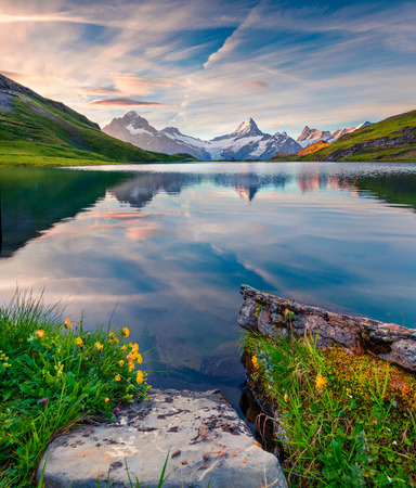 Colorful summer sunrise on Bachalpsee lake with Schreckhorn and Wetterhorn peaks on background. Picturesque morning scene in the Swiss Bernese Alps, Switzerland, Europe.  Imagens