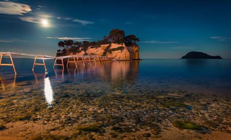 Fantastic night view of the Cameo Island. Slendid spring scene on the Port Sostis, Zakynthos island, Greece, Europe.