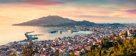 Aerial view of Zakynthos (Zante) town. Colorful spring sunrise on the Ionian Sea. Beautiful cityscape panorama of Greece city.