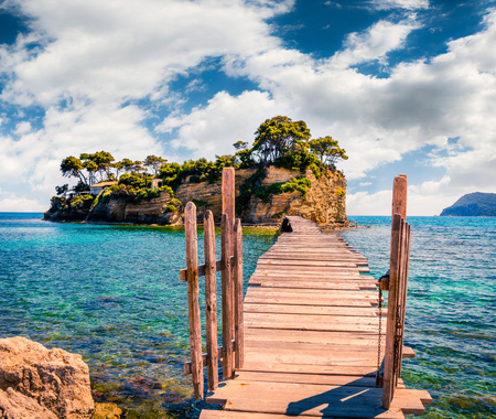 Bright spring view of the Cameo Island. Picturesque morning scene on the Port Sostis, Zakinthos island, Greece, Europe.