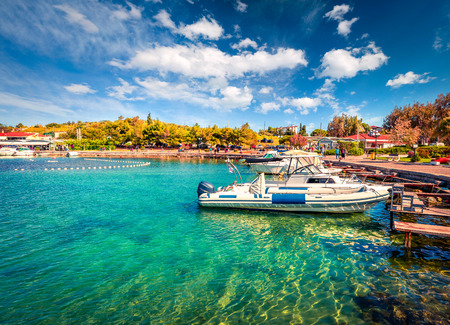 Beautiful spring scene of the Porto Rafti port. Sunny morning seascape of Aegean sea, Greece.