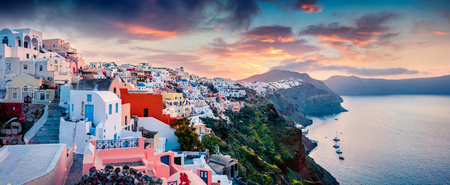 Great morning panorama of Santorini island. Picturesque spring sunrise on the famous Greek resort Oia, Greece, Europe.