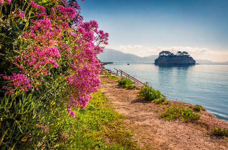 Bright spring view of the Cameo Island. Slendid morning scene on the Port Sostis, Zakinthos island, Greece, Europe.
