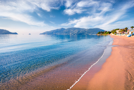 Peaceful morning view of beach of Zakynthos (Zante) island. Sunny spring seascape of the Ionian Sea, Greece, Europe.