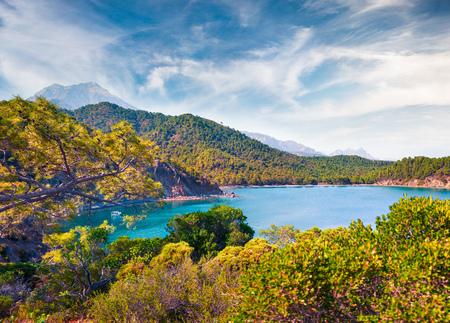Amazing Mediterranean seascape in Turkey. Bright spring view of a small azure bay near the Tekirova village, District of Kemer, Antalya Province. Stok Fotoğraf - 96467237