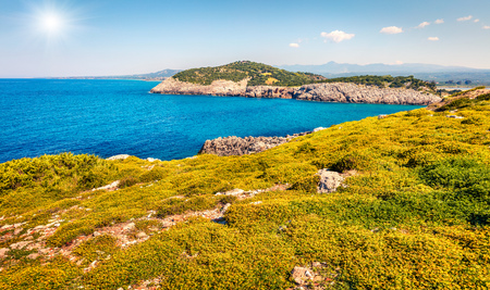 Colorful spring view of Voidokilia beach. Bright morning scene of the Ionian Sea, Pilos town location, Greece, Europe.