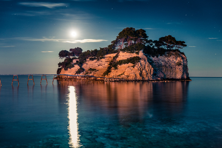 Fantastic night view of the Cameo Island. Slendid spring scene on the Port Sostis, Zakinthos island, Greece, Europe. Stock Photo
