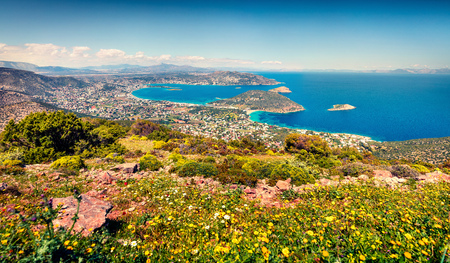 Aerial view of Porto Rafti town. Colorful spring seascape of Aegean sea. Sunny morning scene of the Greece, Europe.