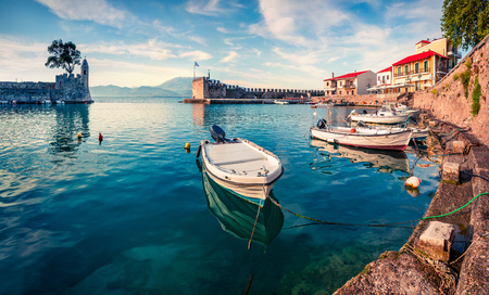 Colorful spring view of the Nafpaktos port. Fantastic morning scene of the Gulf of Corinth, Greece, Europe.