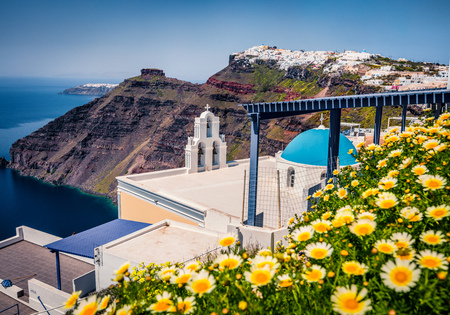 Sunny morning view of Santorini island. Picturesque spring scene of the famous Greek resort Thira, Greece, Europe.