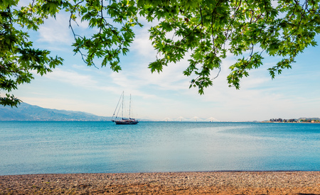 Beautiful spring view of the Nafpaktos shore. Fantastic morning scene of the Gulf of Corinth, Greece, Europe. Stock Photo