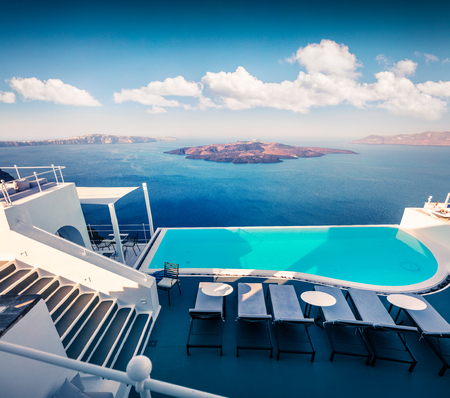 Sunny morning view of Santorini island. Picturesque spring scene of the famous Greek resort Thira, Greece, Europe. Traveling concept background. Stock fotó - 105209772