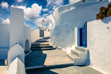 Sunny morning view of Santorini island. Picturesque spring sc ene of the famous Greek resort Thire, Greece, Europe. Traveling concept background. Artistic style post processed photo. 写真素材