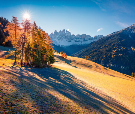 Bright view of Santa Maddalena village in front of the Geisler or Odle Dolomites Group. Colorful autumn scene of Dolomite Alps, Italy, Europe. Beauty of countryside concept background.