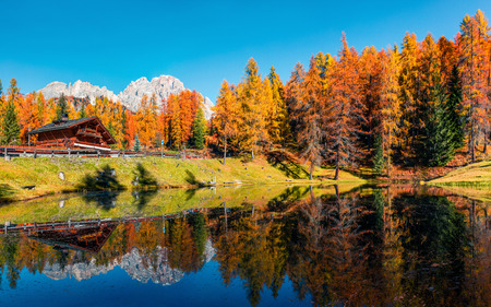 Spectacular colors view of Scin lake with yellow larch trees. Colorful sunny scene of Dolomite Alps, Cortina dAmpezzo location, Italy, Europe. Beauty of countryside concept background.