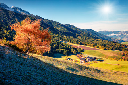 Picturesque autumn view of Santa Maddalena village. Colorful morning scene of Dolomite Alps, Italy, Europe. Beauty of countryside concept background. Artistic style post processed photo. 版權商用圖片