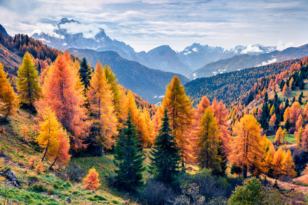Amazing morning view from the top of Giau pass. Colorful autumn landscape in Dolomite Alps, Cortina dAmpezzo location, Italy, Europe. Beauty of nature concept background.