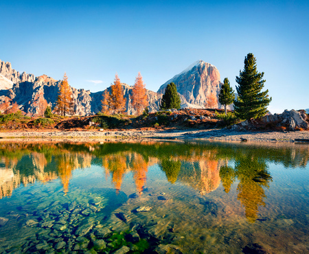 Splendid autumn view of Limides Lake and Lagazuoi mountain. Colorful morning view of Dolomite Alps, Falzarego pass, Cortina d'Ampezzo lacattion, Italy, Europe. Beauty of nature concept background. Stock fotó