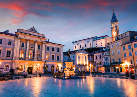 Great night view of Tartini Square in old town Piran. Splendid spring sunset in Slovenia, Europe. Traveling concept background. Magnificent Mediterranean landscape.
